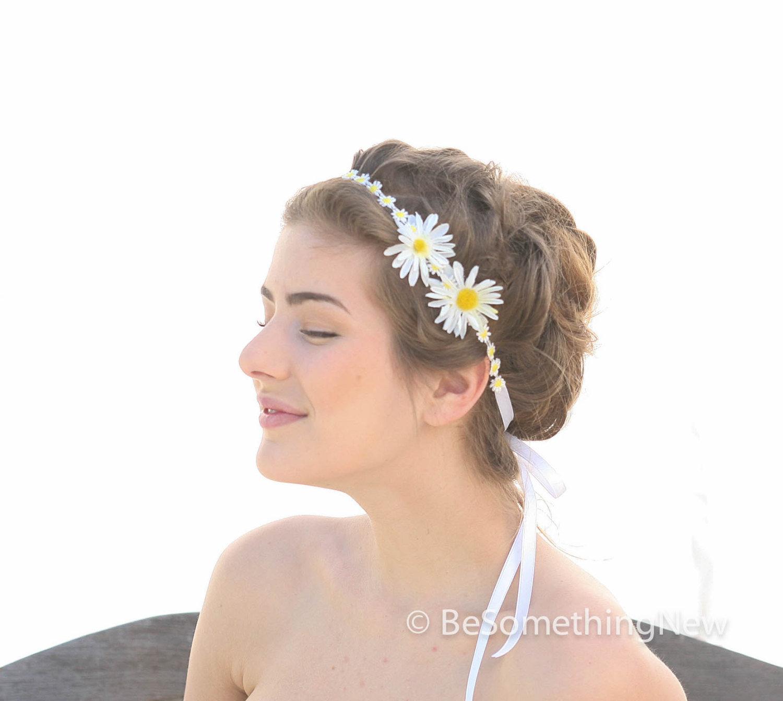 Daisy Chain Flower Ribbon Tie Bohimian Headband Flower Girl
