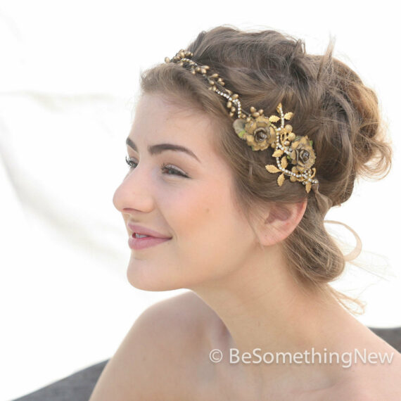 Rustic Gold Leaf Wedding Flower Crown With Metal Leaves and Rhinestones