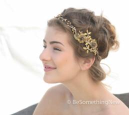 Rustic Gold Leaf Wedding Flower Crown With Metal Leaves and Rhinestones
