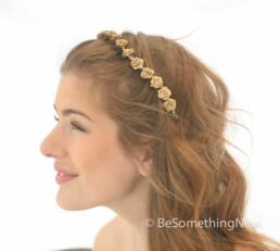 Gold Metallic Flower Headband, Boho Flower Crown, Gold Hair Wreath Bohemian Festival Headband, flower crown of small gold roses for weddings