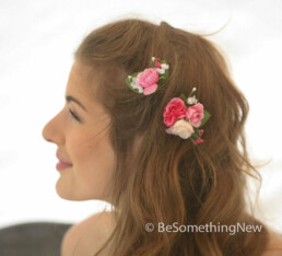 pink flower hair pin set of two bridesmaids hair accessories