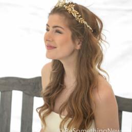 gold crown bridal headpiece woodland tiara