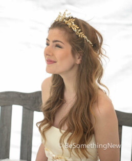 gold crown bridal headpiece woodland tiara