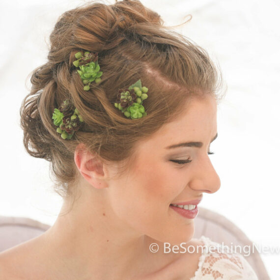 Succulent Bobby Pin Set, Wedding Hair Bobby Pins, Bohemian Rustic Wedding Hair Accessory artificial green succulent bridal hair acceories