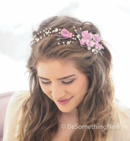 flower hair vine with pearls and rhinestones wedding hair accessory flower crown