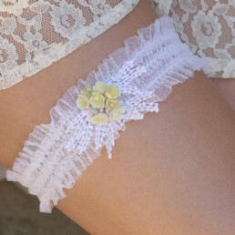 white lace garter yellow flowers vintage wedding garter boho wedding lace garter