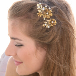 brass flower hair pins with gold leaves for weddings 3