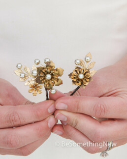 brass flower hair pins with gold leaves for weddings 2