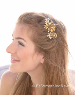 brass flower hair pins with gold leaves for weddings