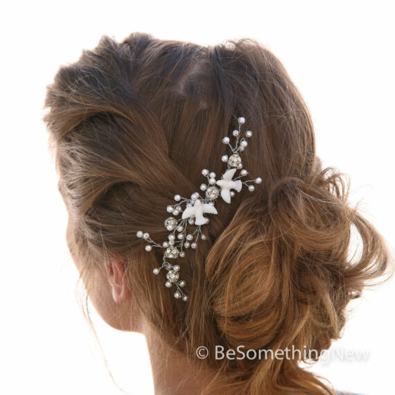 Love Birds Beaded Wedding Hair Vine, Wedding Comb Wired Pearl Hair Vine with Doves, Bridal Headpiece