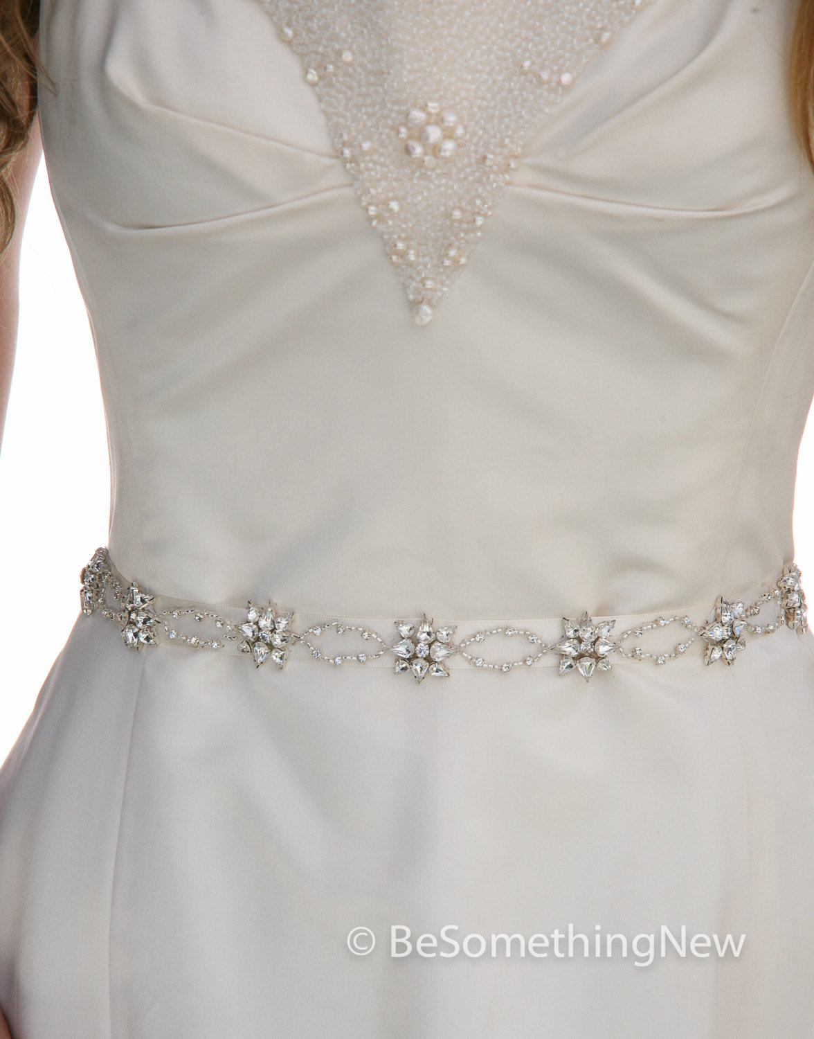 Narrow Rhinestone Wedding Dress Sash Belt or Headband on Ribbon with ...