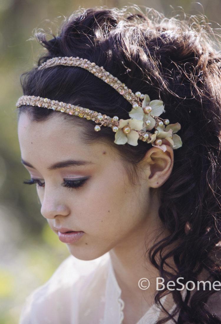 bridal headpeice beaded double tie blush wedding headband with
