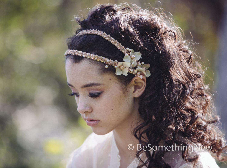 Bridal Headpeice Beaded Double Tie Blush Wedding Headband with Flowers and  Beading  01c3eb8abba