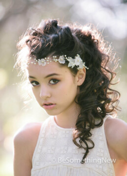 Wedding Hair Vine of Wired Pearls and Vintage Flowers the Perfect Wedding Hair Accessory, flower crown beaded with pearls and lucite flowers