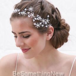 Vintage Sequin Hair Vine of Snowflake Flowers and wired pearls wedding headpiece , wedding headpiece, Christmas wedding