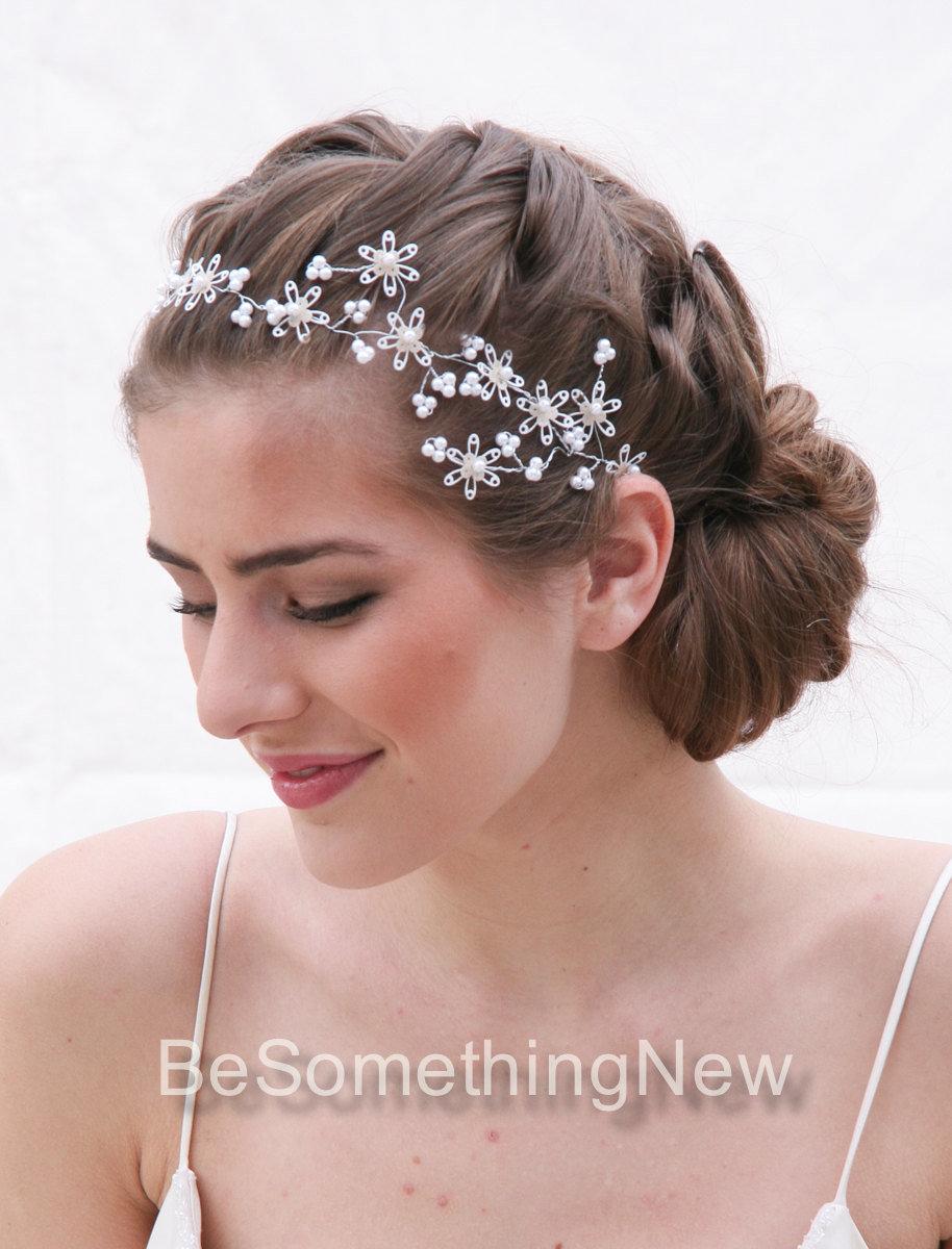 Wedding Hair Vine of Vintage Sequin Snowflake Flowers Wedding Hair ...
