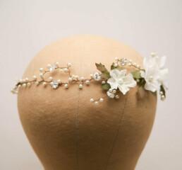 beaded ivory flowers hair vine with pearls and rhinestones, wedding headpiece, halo headband