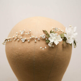 beaded ivory flowers hair vine with pearls and rhinestones, wedding headpiece, halo headband