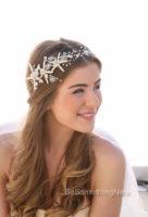 Beach Wedding Starfish and Pearl Wired Hair Vine, Nautical Wedding Headpiece
