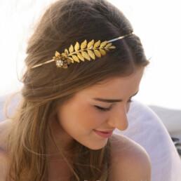 Grecian Leaf and Flower Headband in Gold