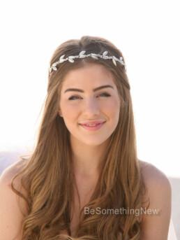 Rhinestone Wedding Headband with Pearl Leaves and rhinestones bridal headband with rhinestones and pearl leaves