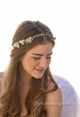 Woodland Wedding Wreath with Flowers in Gold flower crown