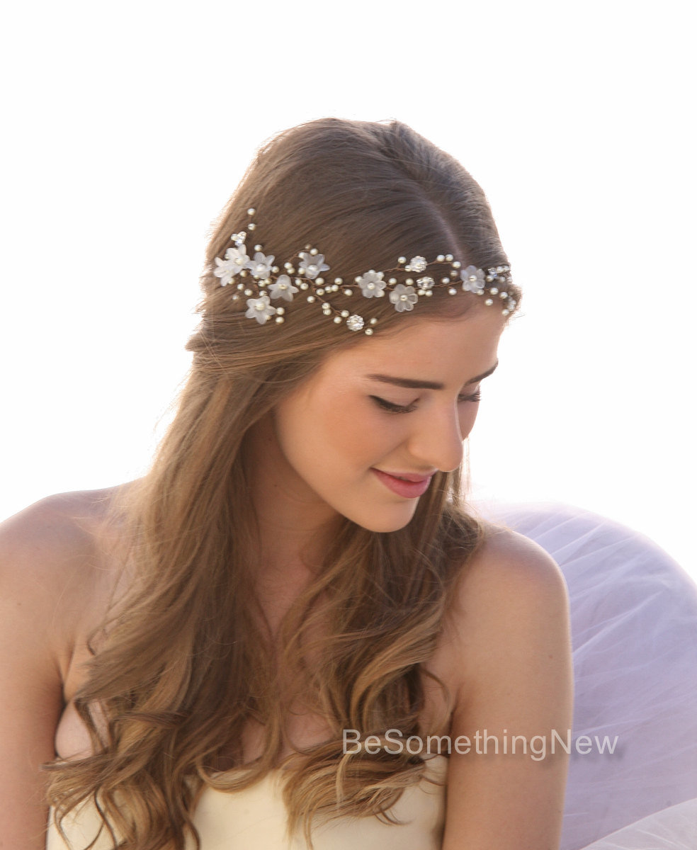 Floral Wedding Hairstyles: Wedding Hair Vine Of Vintage Flowers Pearls And