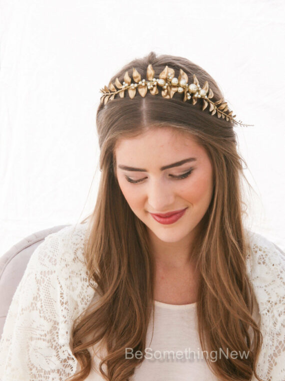 Golden Leaf and Champagne Pearl Headband Woodland Wedding Headband