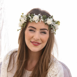 Ivory Rose, Green Fern and Babies Breath Flower Crown with Ribbon Ties