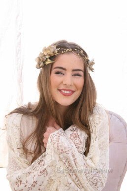 Rustic Gold Flower Crown with Flowers and Ribbon Ties. Hand painted gold flower halo for your wedding day or photo shoots wedding headpiece