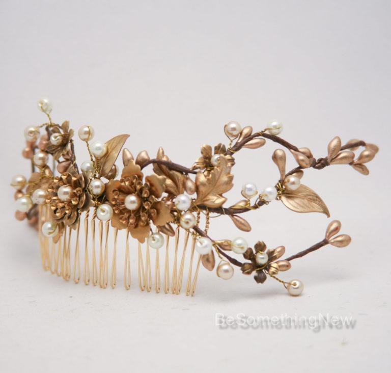 Rustic Gold and Bronze Wedding Hair Comb, Golden Wedding Headpiece 4