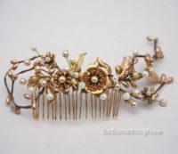 Rustic Gold and Bronze Wedding Hair Comb, Golden Wedding Headpiece 2