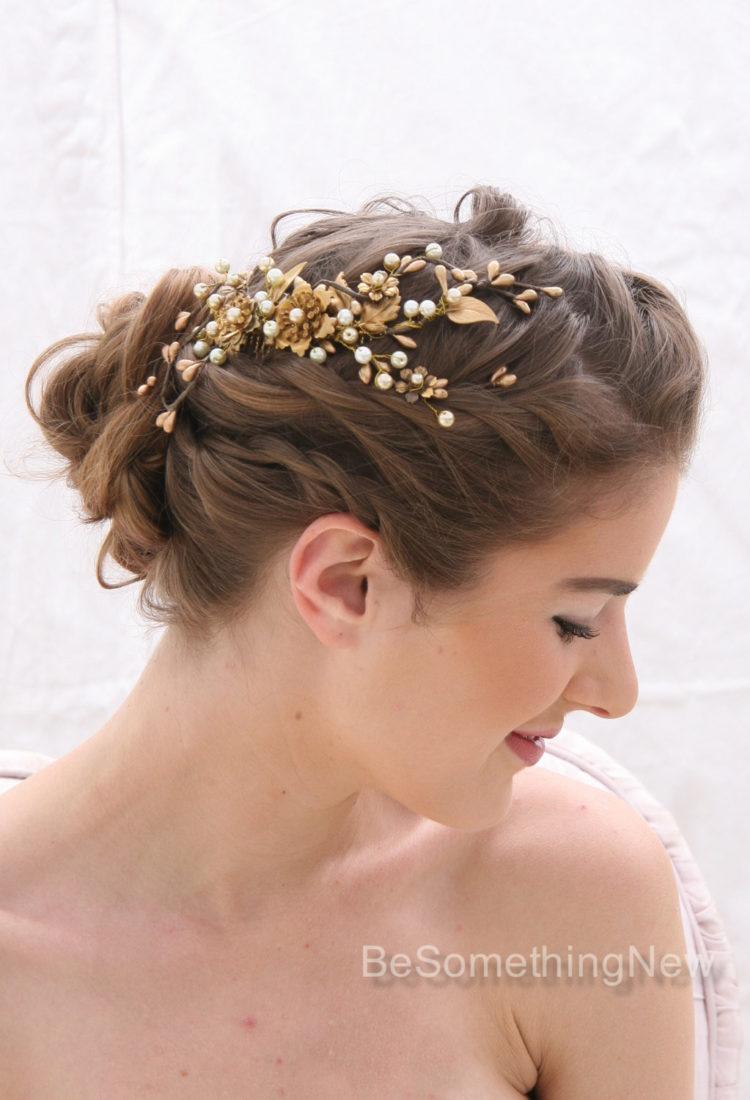 A Rustic Gold and Bronze Wedding Hair Comb, Golden Wedding Headpiece