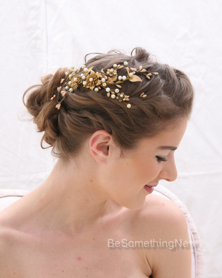 A Rustic Gold and Bronze Wedding Hair Comb, Golden Wedding Headpiece