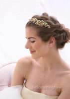 Green and Champagne Hand Painted Metal Wedding Tiara with Pearls