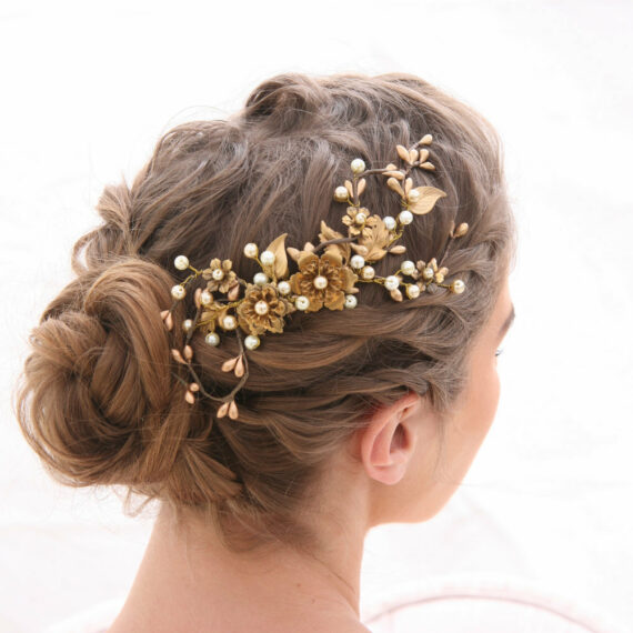 gold rustic wedding hair comb with metal flowers and champagne pearls