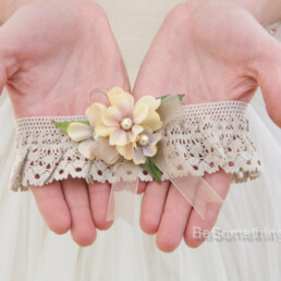 dark ivory lace and flowers wedding garter, bridal garter gifts for the bride lace garter