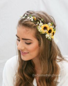 sunflower flower crown babies breath halo bridesmaids hair wedding headpiece photo prop