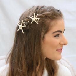 starfish wedding hair pin set, nautical hair accessory for brides or bridesmaids
