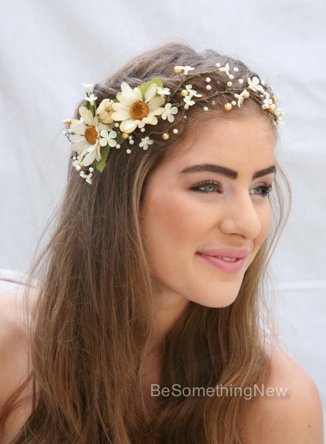 Rustic Floral Hair Vine Of Ivory Daisies And Pearls Be