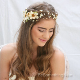 Rustic Floral Hair Vine of Ivory Daisies and Pearls rustic flower crown, daisy and pearl wedding halo wreath bridal headpiece