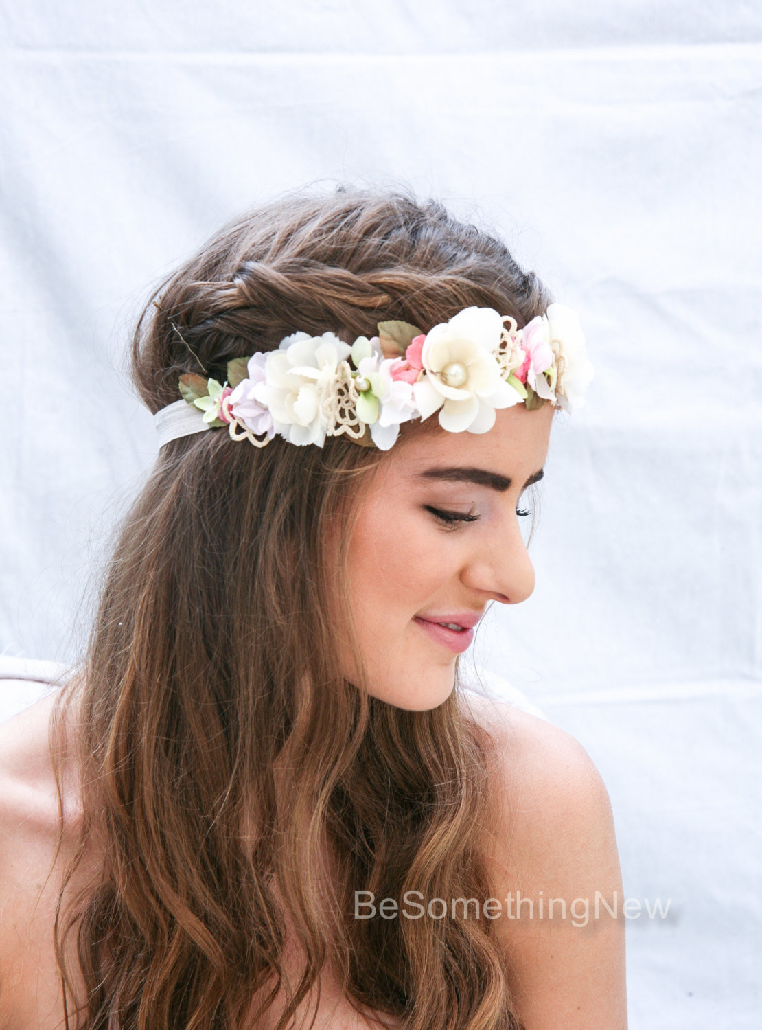 Wedding flower crown boho crown in pink and ivory with vintage lace previous izmirmasajfo