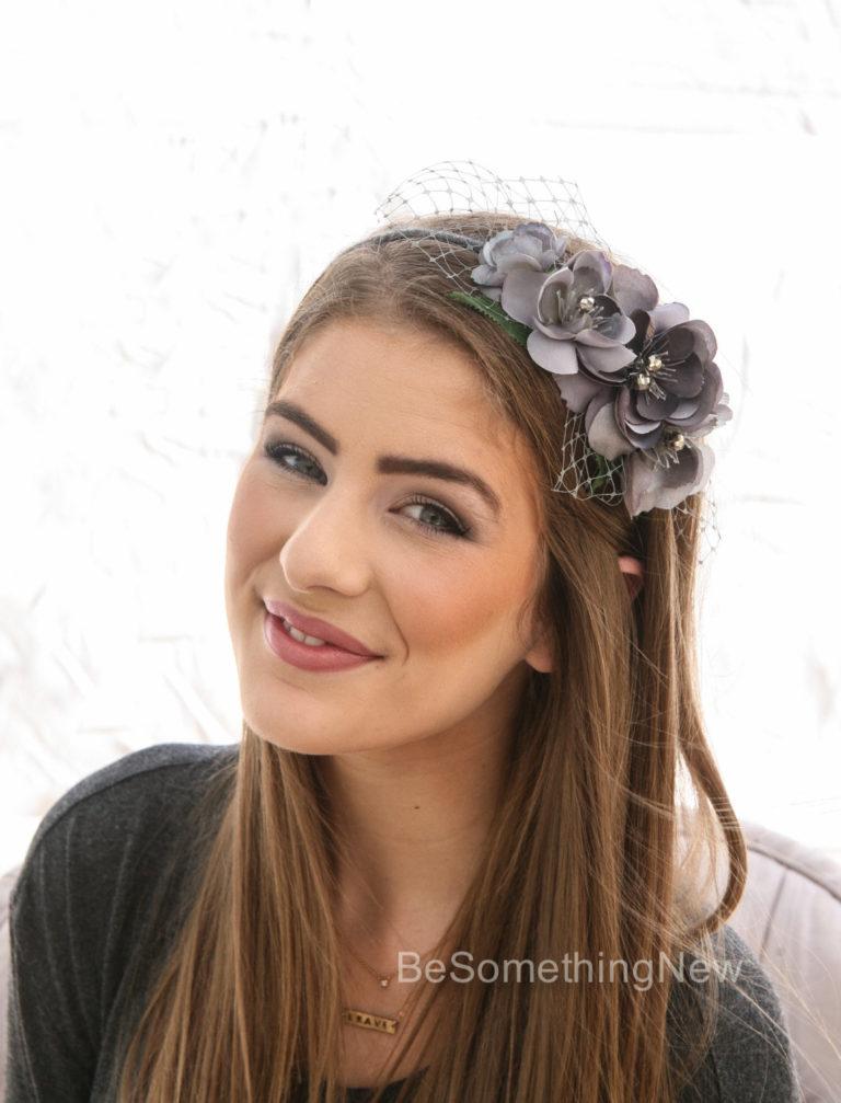 Gray Flower Headband Headbands For Women And Weddings Wedding Hair Bridal Hair Accessory Wedding Accessories Bridesmaid Hair Flower Crown