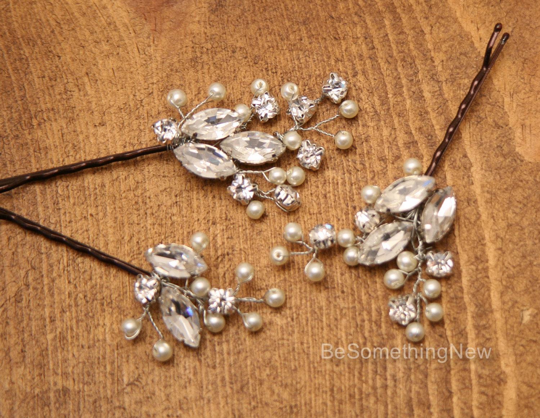 Rhinestone And Pearl Beaded Hair Pin Set Decorative