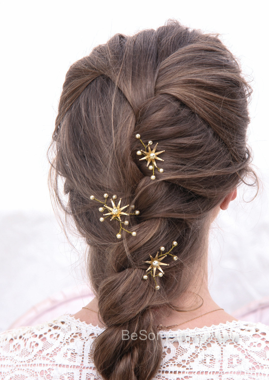 Wedding Hair Pins Star Flower and Champagne Pearl Bridal ...