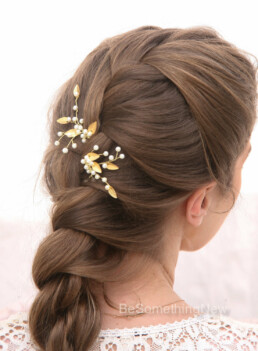 small gold leaf hair pins wired pearls wedding bobby pin set bridesmaids hair