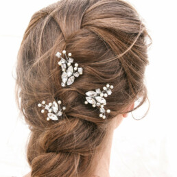 Rhinestone Hair Pin Set with Pearls,Hair Jewelry.wedding hair clips bridal headpiece