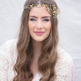 Gold Wedding Hair Vine, Brass Flower and Leaves