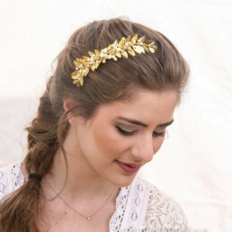 gold meal leaf laurel hair comb for your wedding day