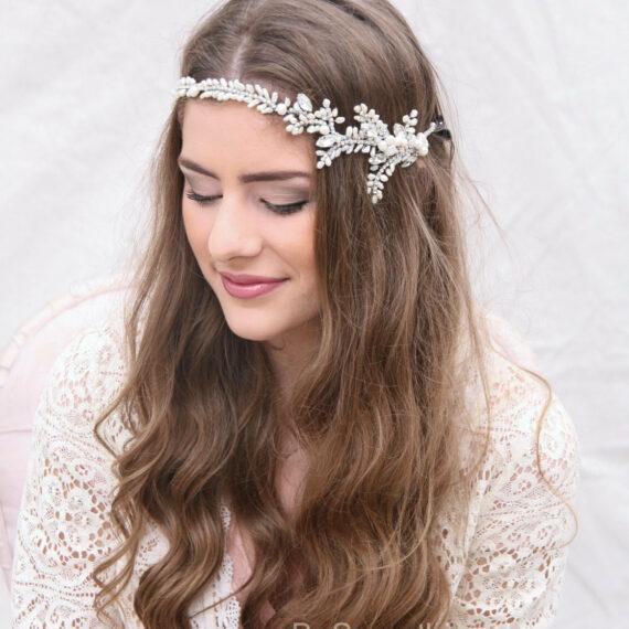 rhinestone and fresh water pearl wedding hair vine wedding tiara bridal headpiece rhinestone silver headpiece